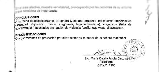 solo concliusión estudio sicológico de Marisabel superrecotada